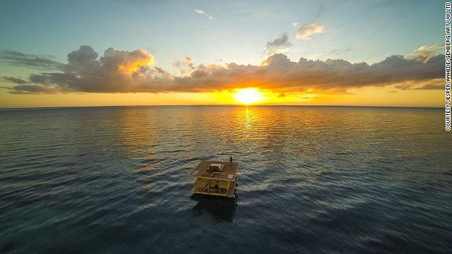 Aerial Shot of The Manta Resort (underwater hotel), Tanzania
