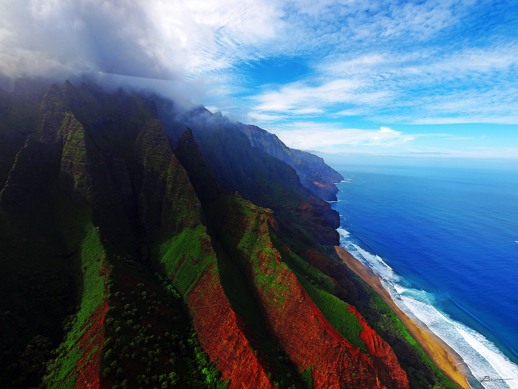 Stunning Shades of Kauai's Napali Coast from Above, Hawaii