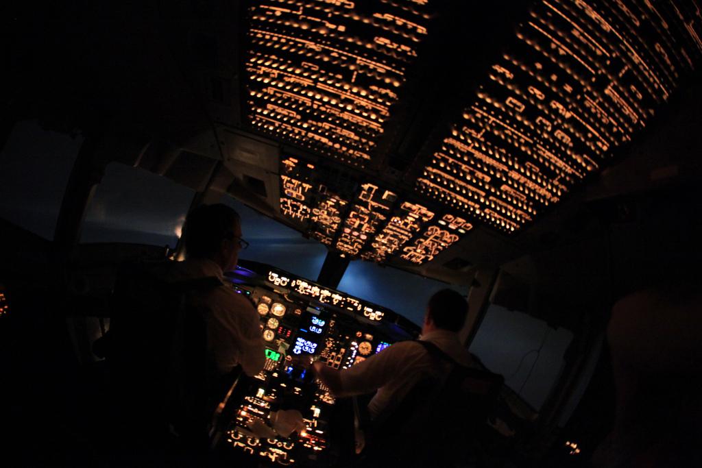 Interior of cockpit during approach to Rio de Janeiro