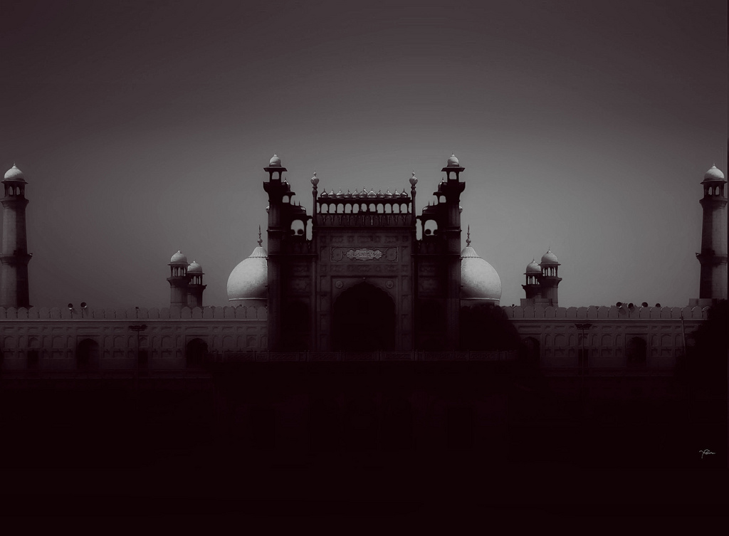 Badshahi Mosque in the Gray, Pakistan