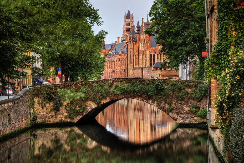 Bridge Over a Canal in Bruges, Belgium