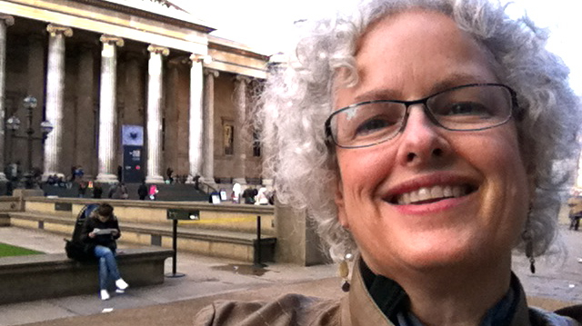 Janice Waugh standing outside the British Museum, London (2012)