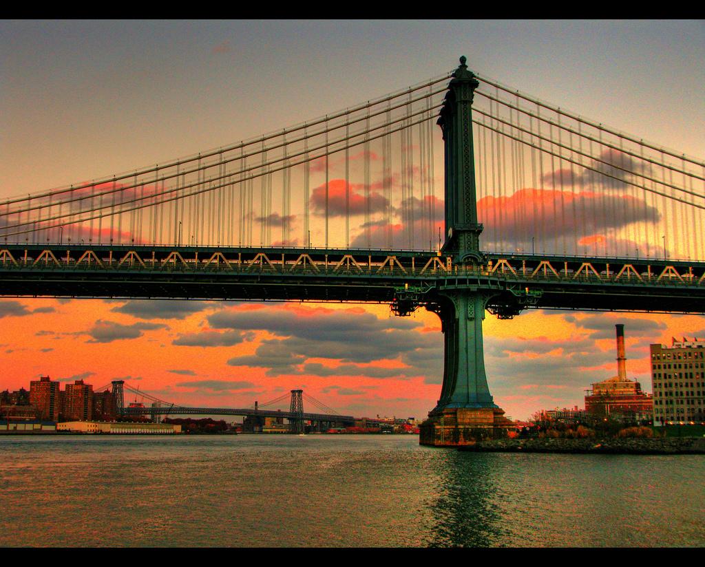 Burning Sky Over Manhattan Bridge