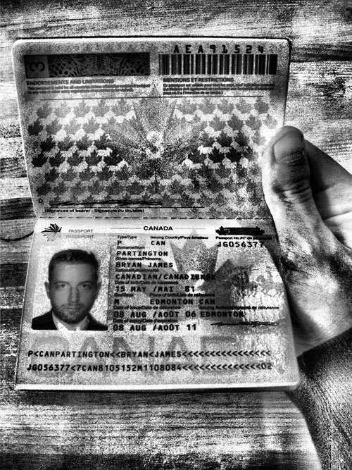Close up B&W of Canadian passport