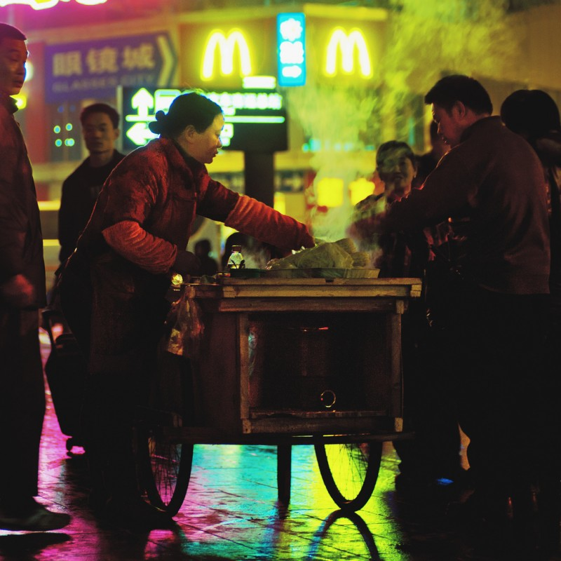 Chinese Fast Food on the Street in Shanghai