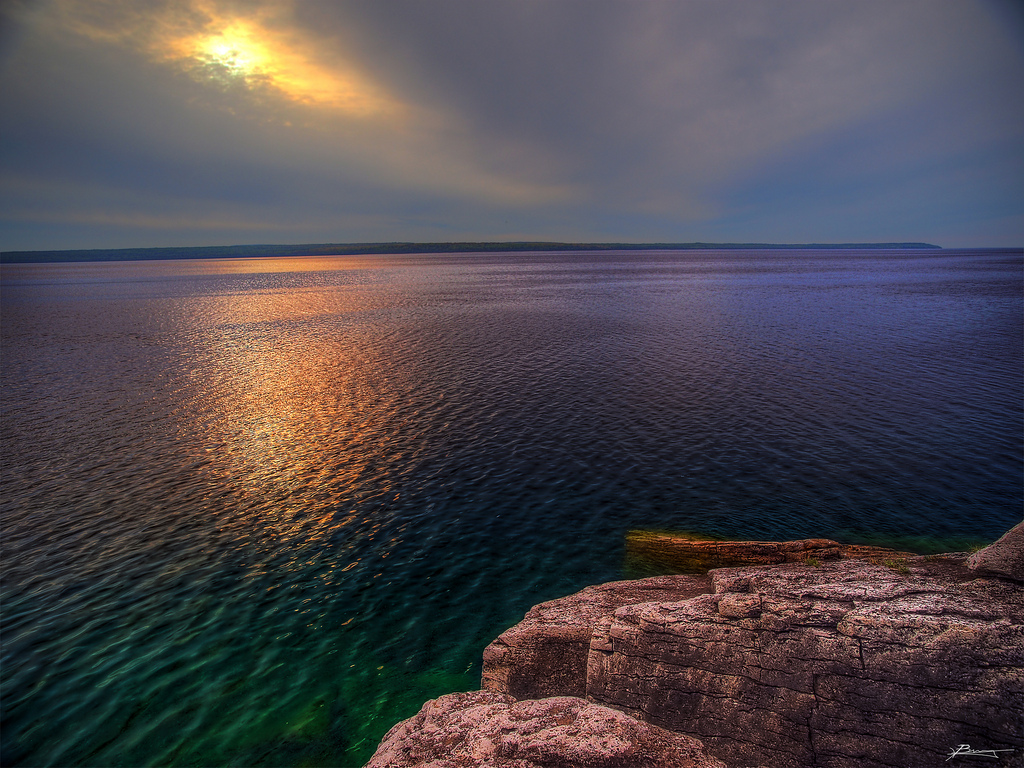 Emerald and Amethyst Over Meldrum Bay, Ontario, Canada