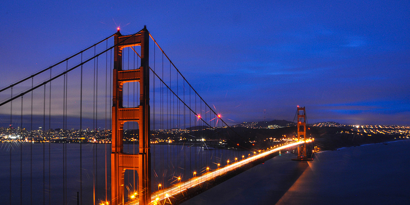 Golden Gate Bridge and Skyline of San Francisco, California