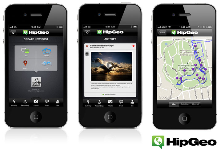 HipGeo: Mobile App for Travelers (screenshots)