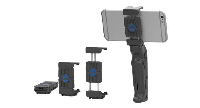Expandable JawZ Mount on the GRIP&SHOOT Smartphone Pistol Grip