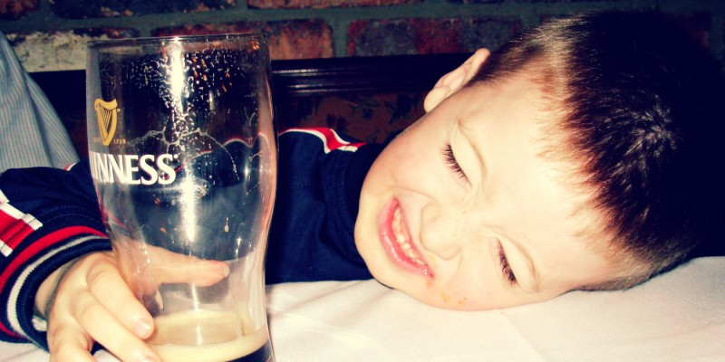 Young Kid Drinking Guinness