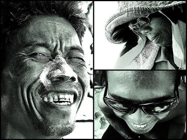 Closeup B&W portraits of Kuta beach people