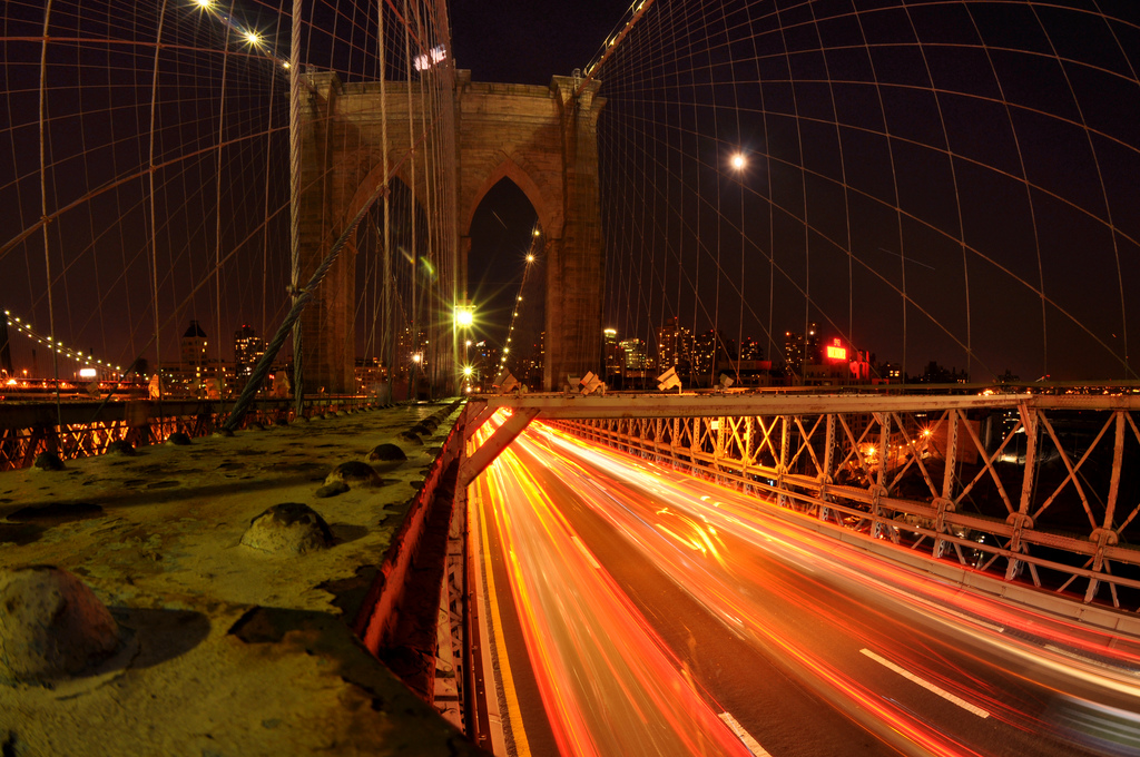 Light Blurs on the Brooklyn Bridge, New York City