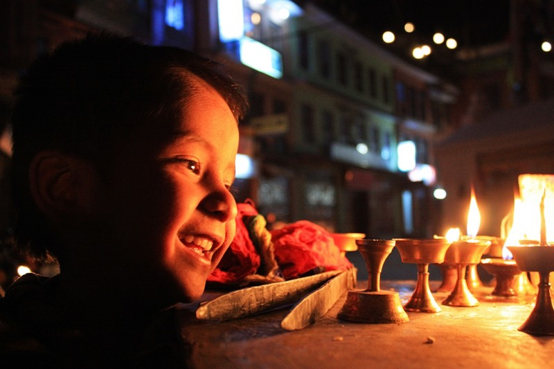 Light Boy at Bauddha Stupa, Nepal