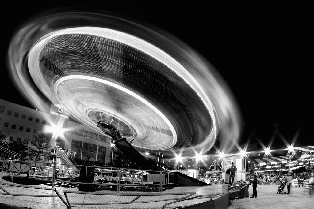 Spinning ride at a neighborhood fair in Singapore