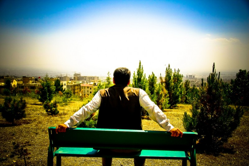 Lone Man on a Bench in Tehran, Iran