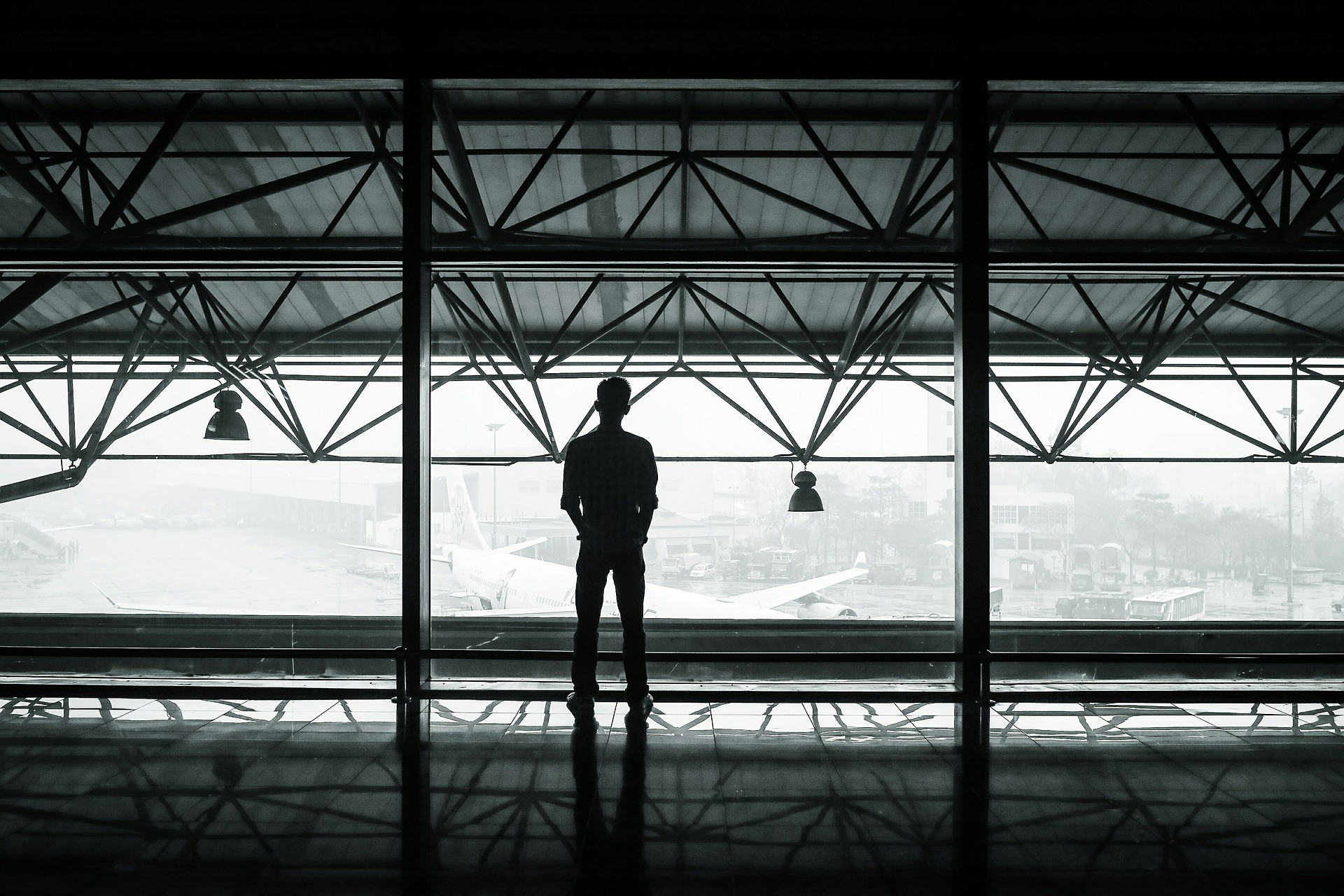 Man in Airport Window
