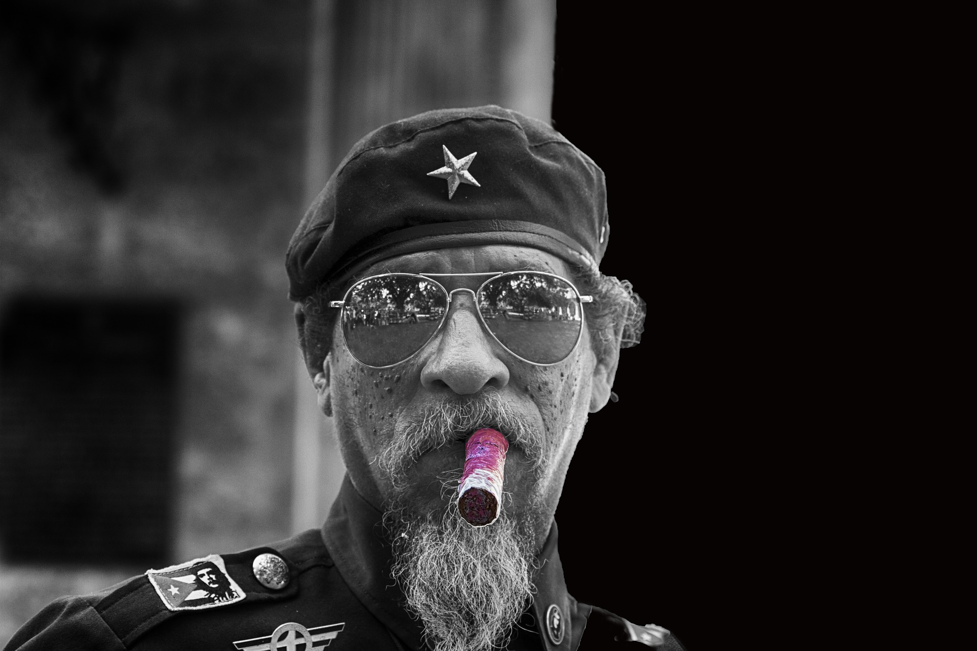 Man Smoking Cigar in Havana, Cuba (B&W)