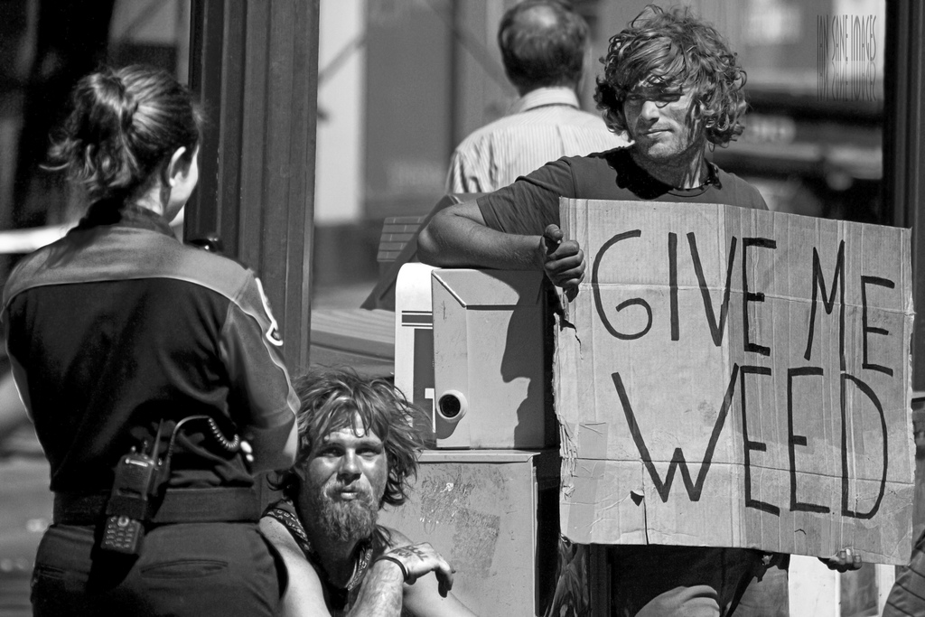 """Man with """"Give Me Weed"""" Sign in Portland, Oregon"""