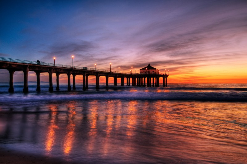Sunset Over Manhattan Beach Pier Near Los Angeles, California
