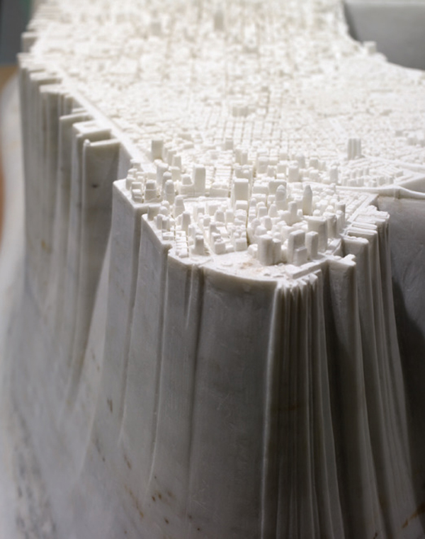 Manhattan Island Carved from Marble