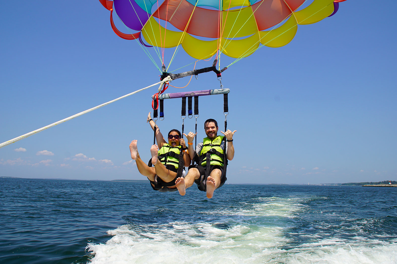Mike and Kelsey launching with Island Style Parasail