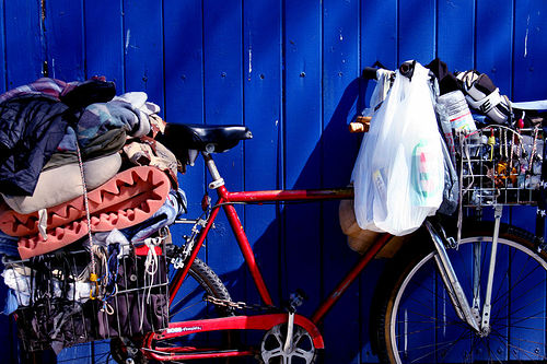 Bicycle adorned with clutter