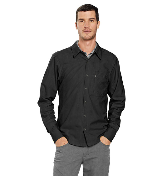 Nau Lightbeam Men's Travel Shirt (Caviar Stripe)