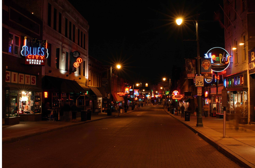 Nighttime on Beale Street in Memphis, Tennessee
