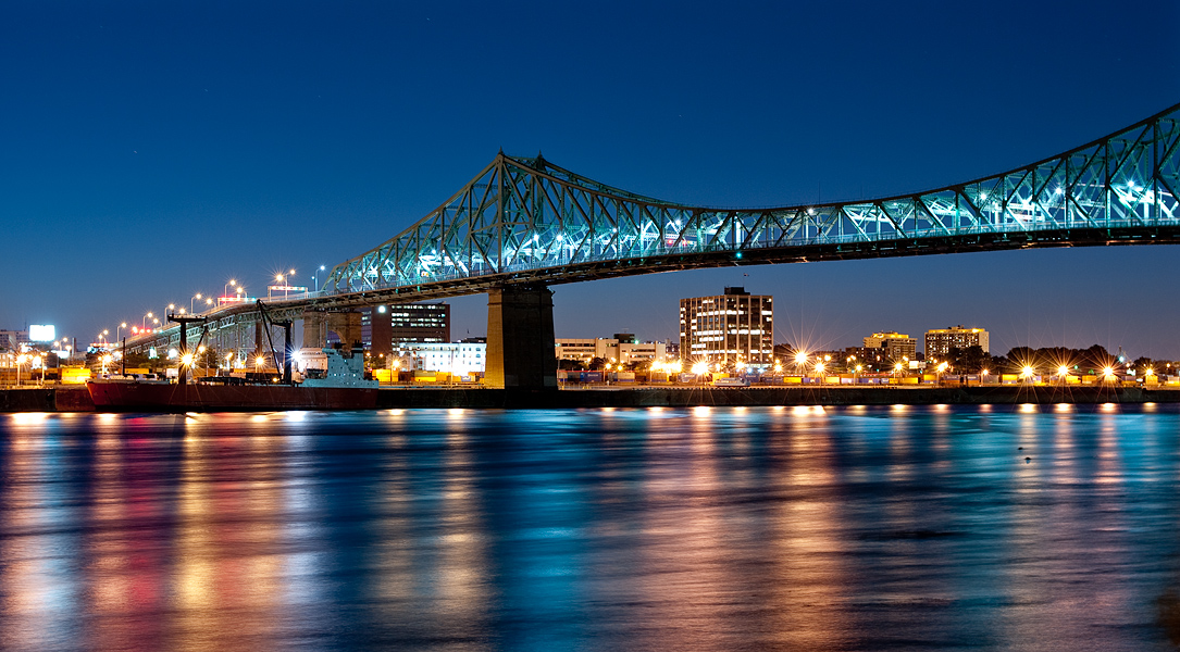 Night on the Jacques-Cartier Bridge, Montreal, Canada
