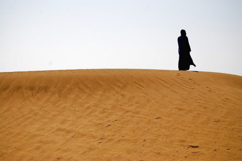 Nomad Alone in the Desert of Morocco