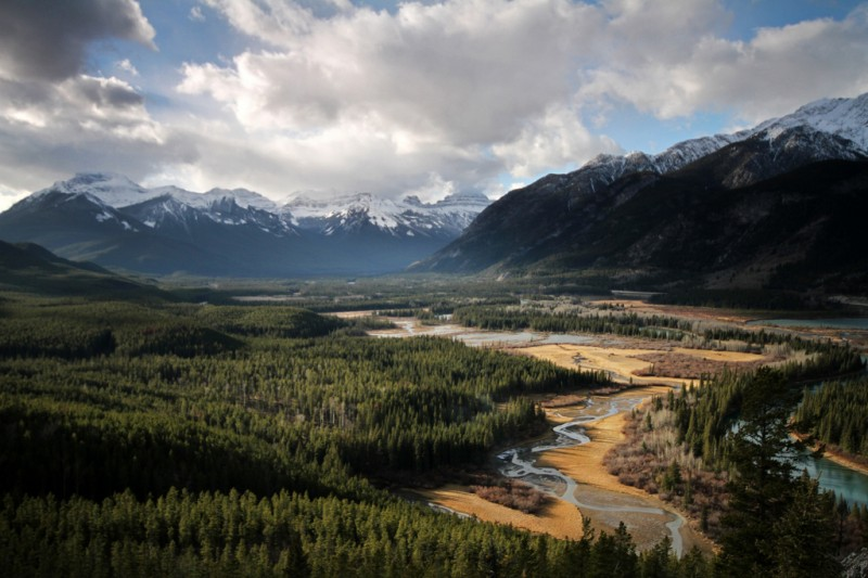 Philosopher's Knoll in Bow Valley, Banff, Canadian Rockies (aerial)