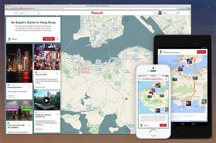 Pinterest Launches 'Place Pins': A Map Overlay for Your Travel Pins