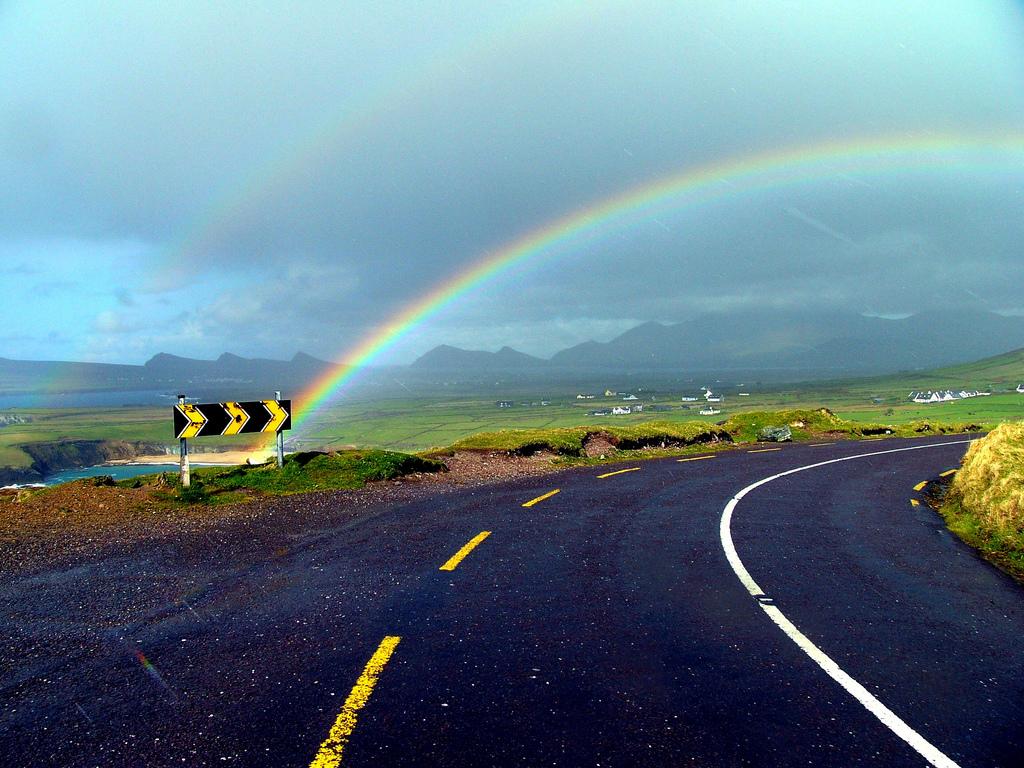Rainbow Over a Green Road, Ireland