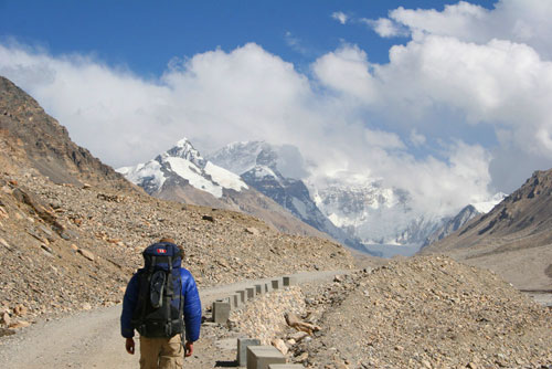 Backpacker on Road to Mount Everest