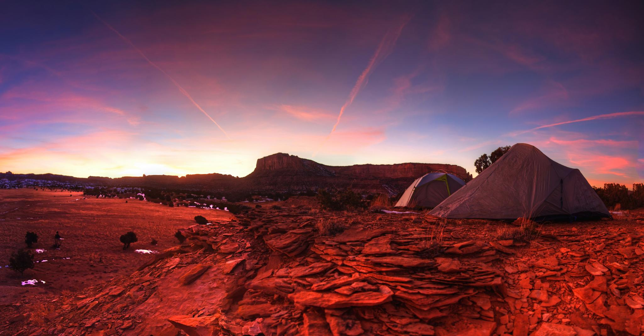 Tent camping at sunset in Utah