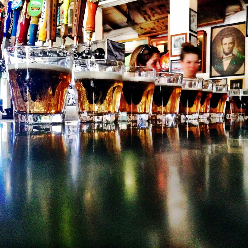 Root Beer Barrel shots lined up at the Green Parrot, Key West, Florida