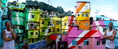 Rio favela/slum painted with a mural from Haas&Hahn