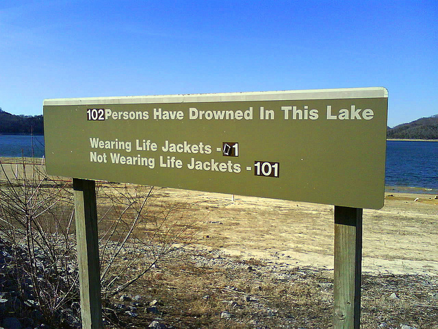 Sign: 102 Persons Have Drowned in This Lake