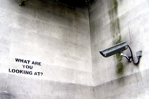"Bansky graffiti in London: ""What are you looking at?\"""