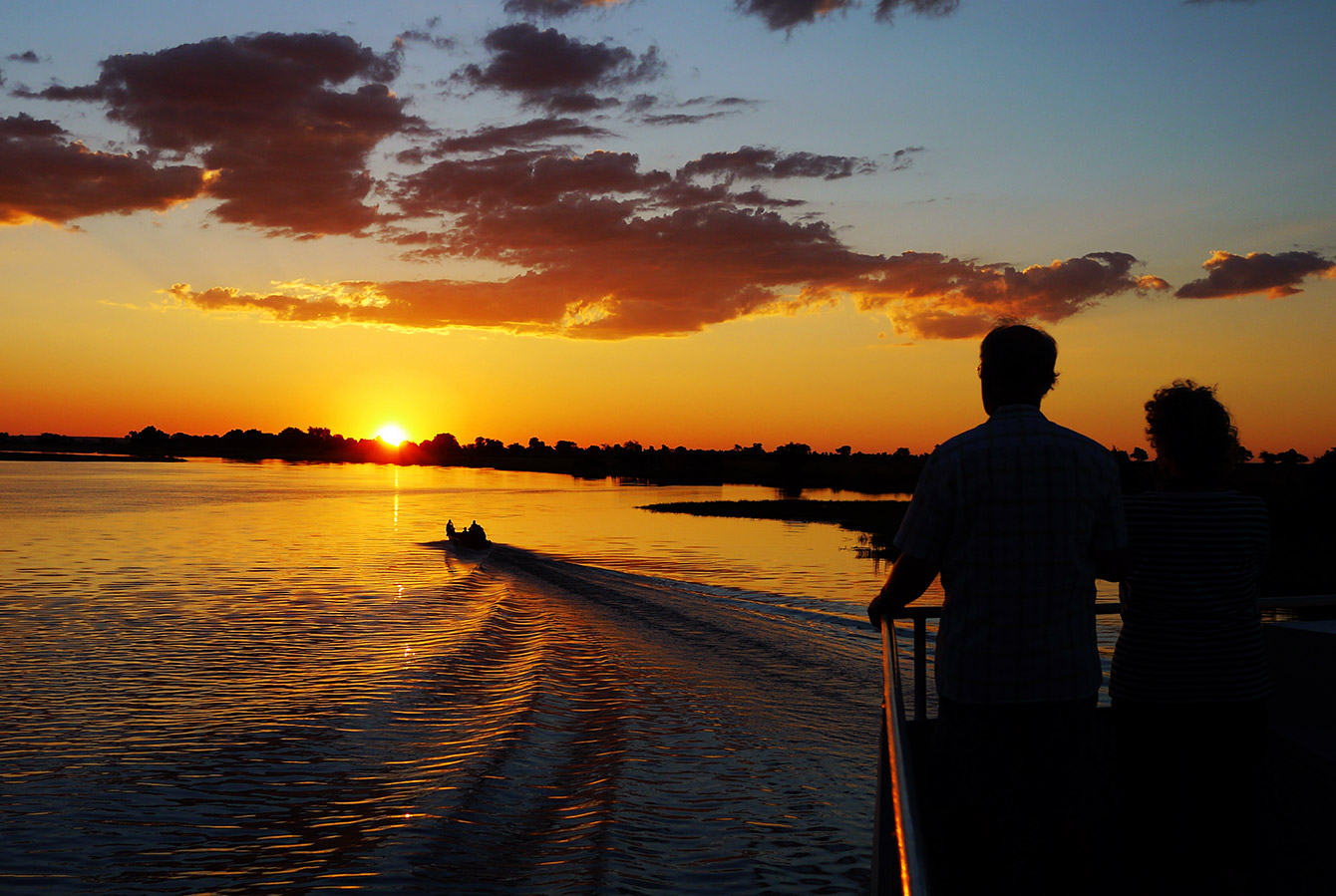 Silhouettes at Sunset Aboard the Zambezi Queen, Chobe River, Botswana, Africa