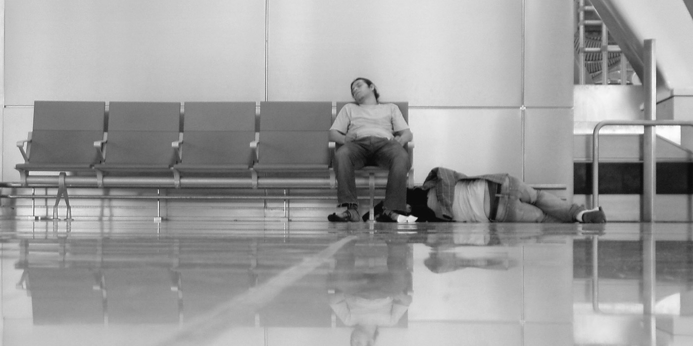 Sleeping in Madrid Airport