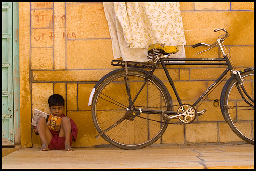 Young boy on street in Jaisalmer, India