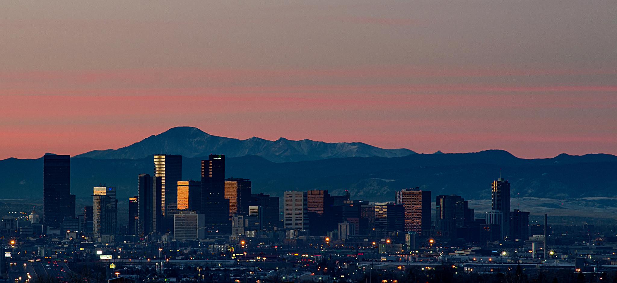 Sunrise Over Downtown Denver, Colorado