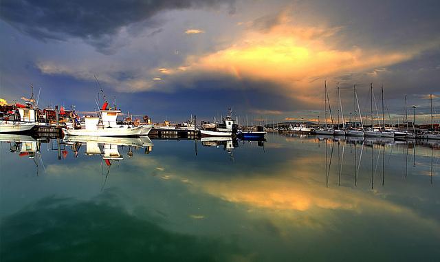 Boats in harbor in Abruzzo, Italy