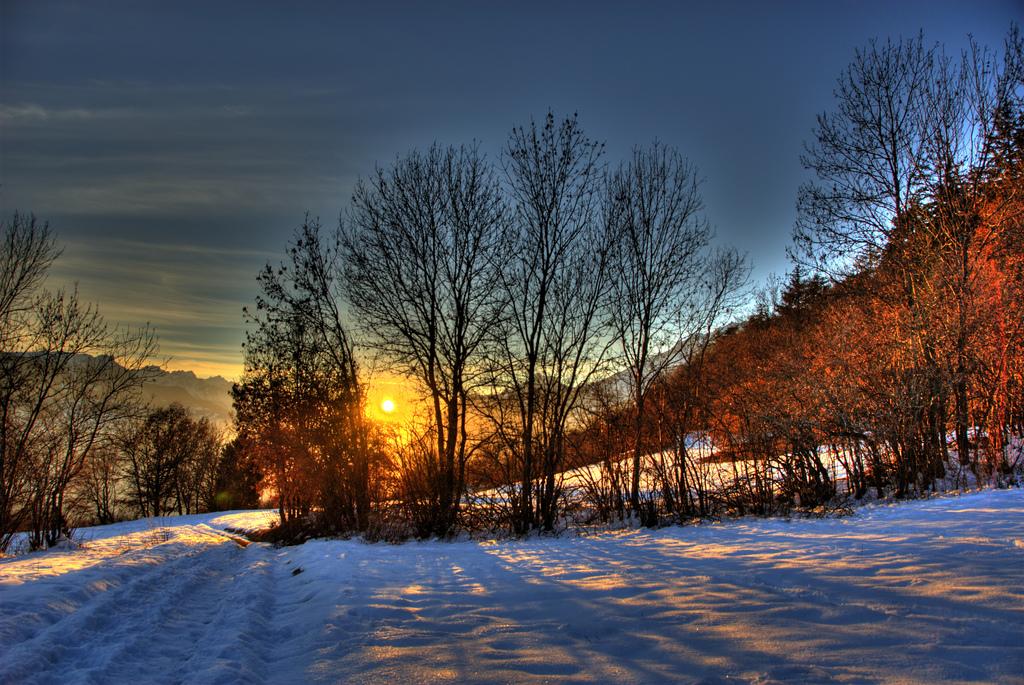 Snowy Sunset in Binii, Switzerland