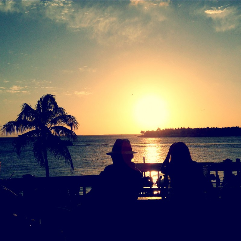 Sunset silhouette of couple at Westin Key West hotel bar