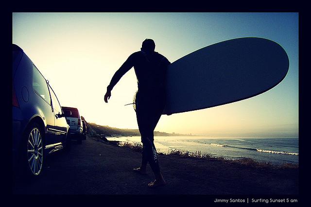 Surfer Near Pacific Coast Highway, California