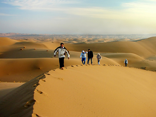 Walking the Sand Dunes, Iran