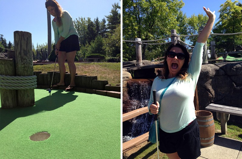 Winning at Mini Golf at Pirate's Adventure in Bar Harbor, Maine