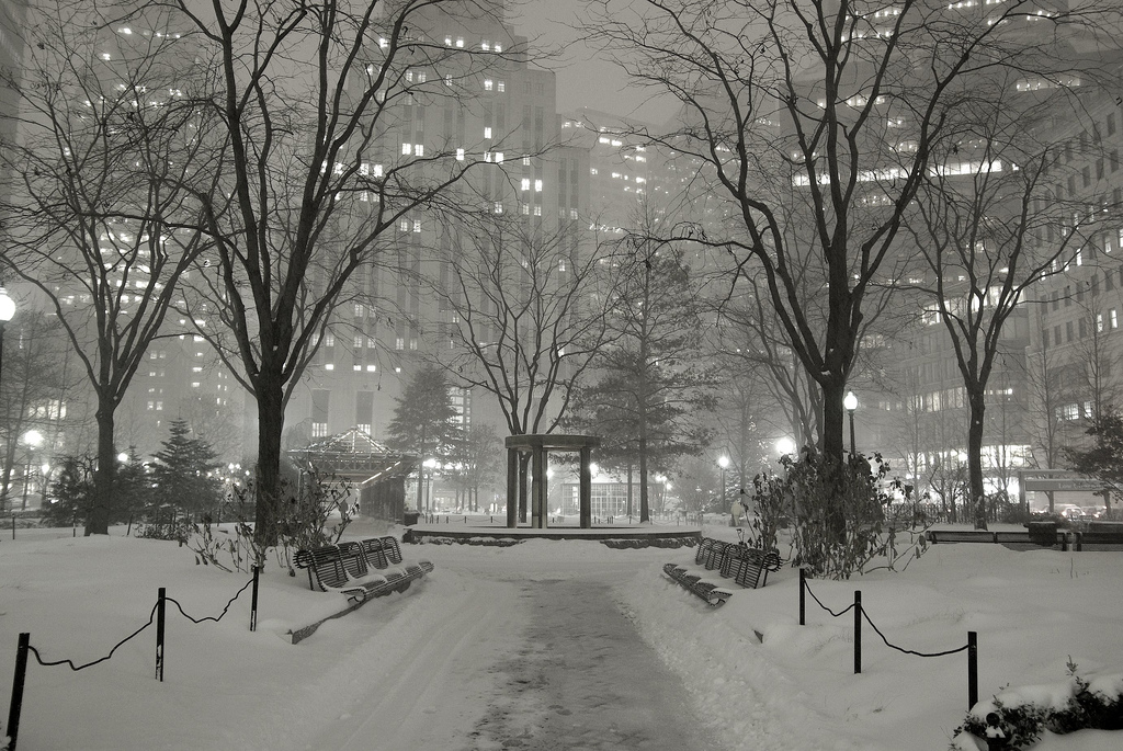 Winter scene in the financial district of Boston